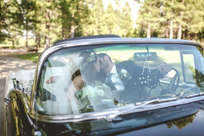Vintage classic car tahoe wedding